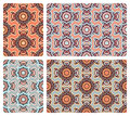Set of colorful seamless patterns in oriental style four Royalty Free Stock Images