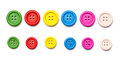 Set of colorful sewing buttons shot from top with clothing buttons in red blue green yellow Royalty Free Stock Photos