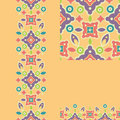 Set of colorful shapes seamless pattern and geometric borders backgrounds with hand drawn elements Stock Photography