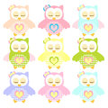 Set of colorful sleepy owl illustration owls with nine color combinations seamless patterns Stock Images