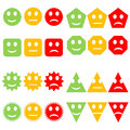 Set of colorful smileys different shapes happy to sad in white background Royalty Free Stock Image