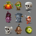 Set of colorful spooky halloween icons. Royalty Free Stock Photo