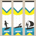 Set of colorful sports banners in the style of minimalism flat for commercial websites. Surfing, swimming and yachting. Vector Royalty Free Stock Photo