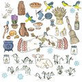 Set of colorful spring doodles. Beginning of spring symbols. Imbolc wiccan holiday sketch doodles. Brigids cross, groundhog,