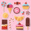 Set of colorful sticker candy, sweets and cakes Royalty Free Stock Photo