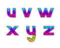 Set of Colorful Striped Lowercase Alphabets Part 4