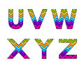 Set of Colorful Striped Uppercase Alphabets Part 5