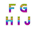 Set of Colorful Striped Uppercase Alphabets Part 2