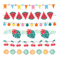 Set of colorful summer garlands. Birthday party bunting decoration with paper flags, string of light bulbs, palm leaves Royalty Free Stock Photo