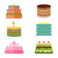 Set of colorful tasty pieces cakes, pies, and other bakery desserts icons