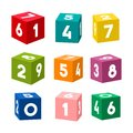 Set of colorful toy bricks with numbers, vector Royalty Free Stock Photo