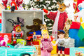 Set of colorful toys for kids, brought by reindeer Royalty Free Stock Photo