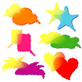 Set of colorful transparent speech bubbles double Stock Image