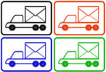 Set colorful trucks mail and delivery symbol black red yellow blue lorry Stock Photography
