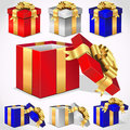 Set of colorful vector gift boxes Stock Images