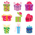 Set of colorful vector gift boxes . Royalty Free Stock Photography