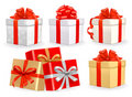 Set of colorful vector gift boxes with bows. Royalty Free Stock Photo