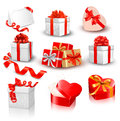 Set of colorful vector gift boxes with bows Royalty Free Stock Photography