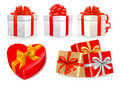 Set of colorful vector gift boxes with bows and ri Royalty Free Stock Photo