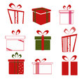 Set of colorful vector gift boxes illustration Stock Photos