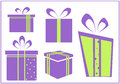 Set of colorful vector gift boxes illustration Stock Photo
