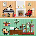 Set of colorful vector interior design house rooms with furniture icons: living room and home office. Rooms with vintage interior