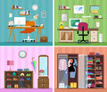 Set of colorful vector interior design house rooms with furniture icons: working place with computer, modern home office, wardrobe Royalty Free Stock Photo