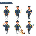 Set of colorful vector policeman at work.