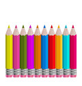 Set colorful vertical pencils isolated on white ba Royalty Free Stock Photo