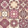 Set of colorful vintage ceramic tiles with ornamental moroccan motives.