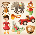 Set of colorful vintage toys for kids eps Stock Image