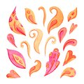 Set of colorful watercolor petals. Hand painted design elements. Suitable for decorating cards, packaging and more. Isolated on