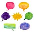 Set of colorful watercolor speech bubbles