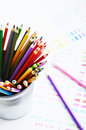 Set of colorful wooden pencils and color palette Royalty Free Stock Photo