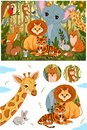 Set of cute forest animals in retro vintage colors.