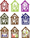 Set of colour small houses Royalty Free Stock Image