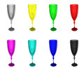 Set colour wineglass isolated pied glass goblets Royalty Free Stock Photography