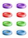 Set of coloured button