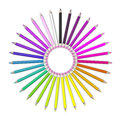 Set of coloured pencil pencils are aligned in a circle shaped and sorted using rainbow colours Stock Photo