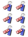 Set of coloured sale tags blue and red Royalty Free Stock Images