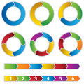 Set of colourful circle diagrams and arrows this image is an illustration Royalty Free Stock Photo