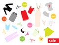 Set of colourful clothes and stickers Royalty Free Stock Photo