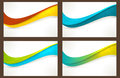 Set of colourful wave templates banners wavy pattern in various bright colors with copy space can be used for business cards Stock Photography