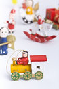 Set of colourful wooden christmas decoration toys Royalty Free Stock Photo