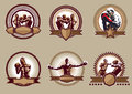 Set of combative sport icons or emblems six different vector showing a single boxer fighting two boxers sparring and a champion Royalty Free Stock Photos