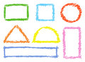 Set of comic colorful design elements. Crayon chalk hand drawn frames.