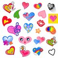 Set Of Comic Different Colored Style Heart Ornament Isolated On White Background