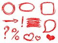 Set of comic red design elements. Crayon chalk hand drawn frame, heart, speech bubble, arrow Royalty Free Stock Photo