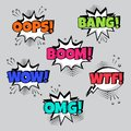 Set of comic speech bubbles with different emotions and Boom, Vector illustration