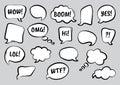 Set of comic speech bubbles, hand drawn. Vector illustration